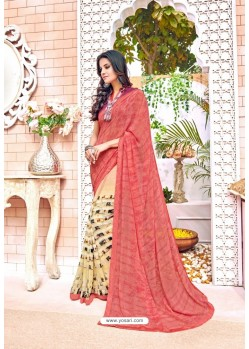 Peach Georgette Printed Saree