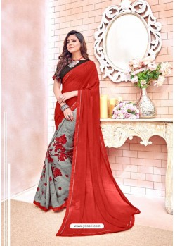 Red Georgette Printed Casual Saree