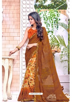 Brown Georgette Printed Casual Saree