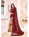 Maroon Georgette Printed Saree