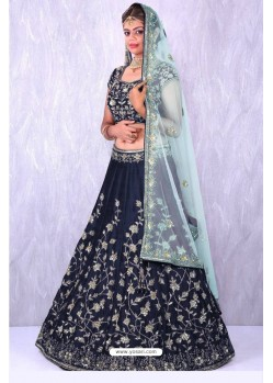 Navy Blue Taffeta Embroidered Lehenga Choli