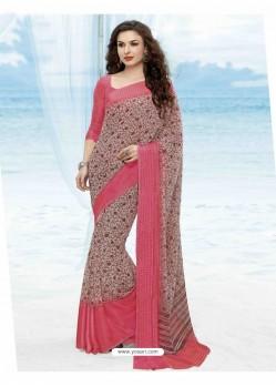 Pink Print Work Saree