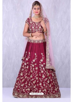 Wine Taffeta Embroidered Lehenga Choli