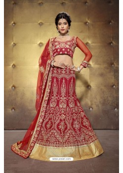 Exceptional Red Embroidered Lehenga Choli