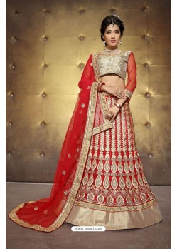 Deserving Red Embroidered Lehenga Choli