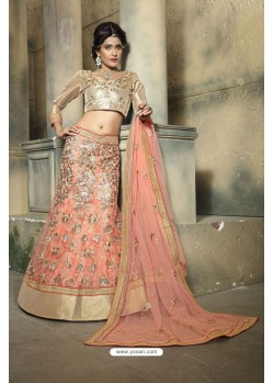 Fantastic Peach Embroidered Lehenga Choli