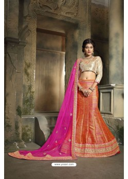 Beauteous Orange Embroidered Lehenga Choli