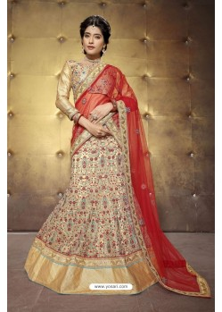 Eye Catching Beige Embroidered Lehenga Choli