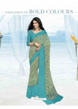 Sky Blue Print Work Saree