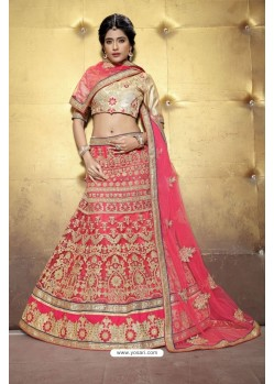 Perfect Peach Embroidered Lehenga Choli
