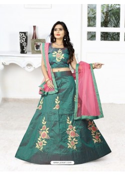 Fabulose Teal Silk Lehenga Choli