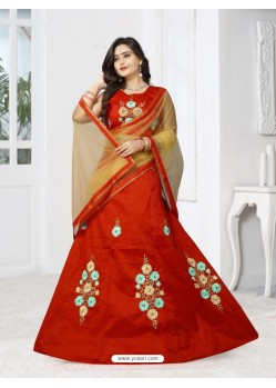 Adorable Red Silk Lehenga Choli