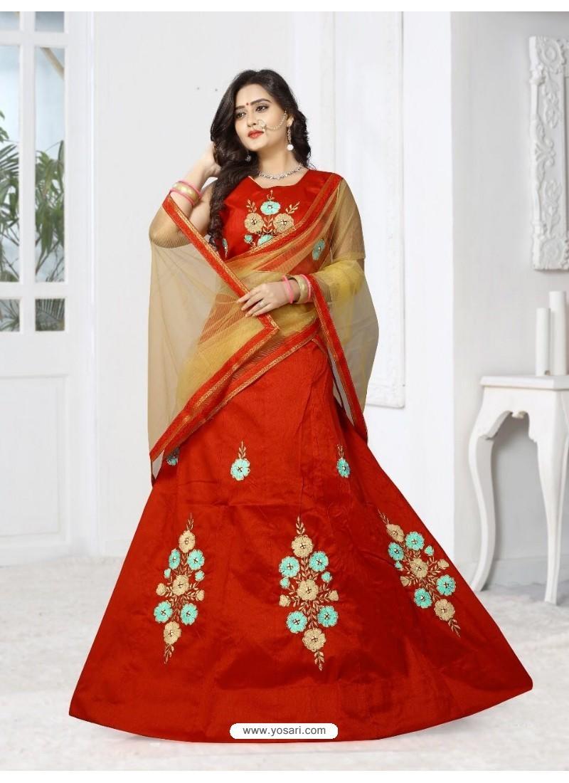 Adorable Red Silk Lehenga Choli