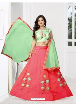 Asthetic Peach Silk Lehenga Choli