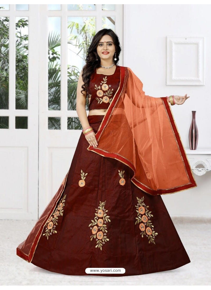 Fashionable Maroon Silk Lehenga Choli