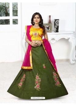Astounding Mehendi Silk Lehenga Choli