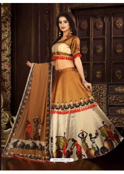 Beige Taffeta Digital Work Lehenga Choli