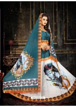 Tealblue Taffeta Digital Work Lehenga Choli