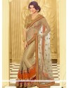 Cream Shaded Brocade And Net Half And Half Saree