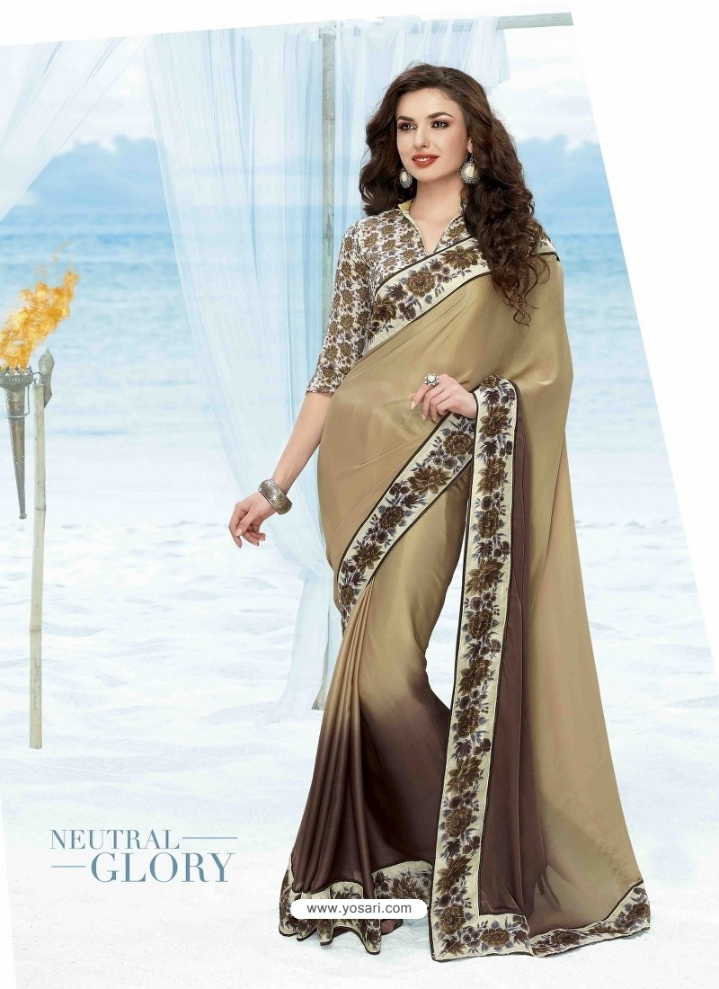 Brown Shade Print Work Saree