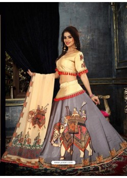 Grey Taffeta Digital Work Lehenga Choli