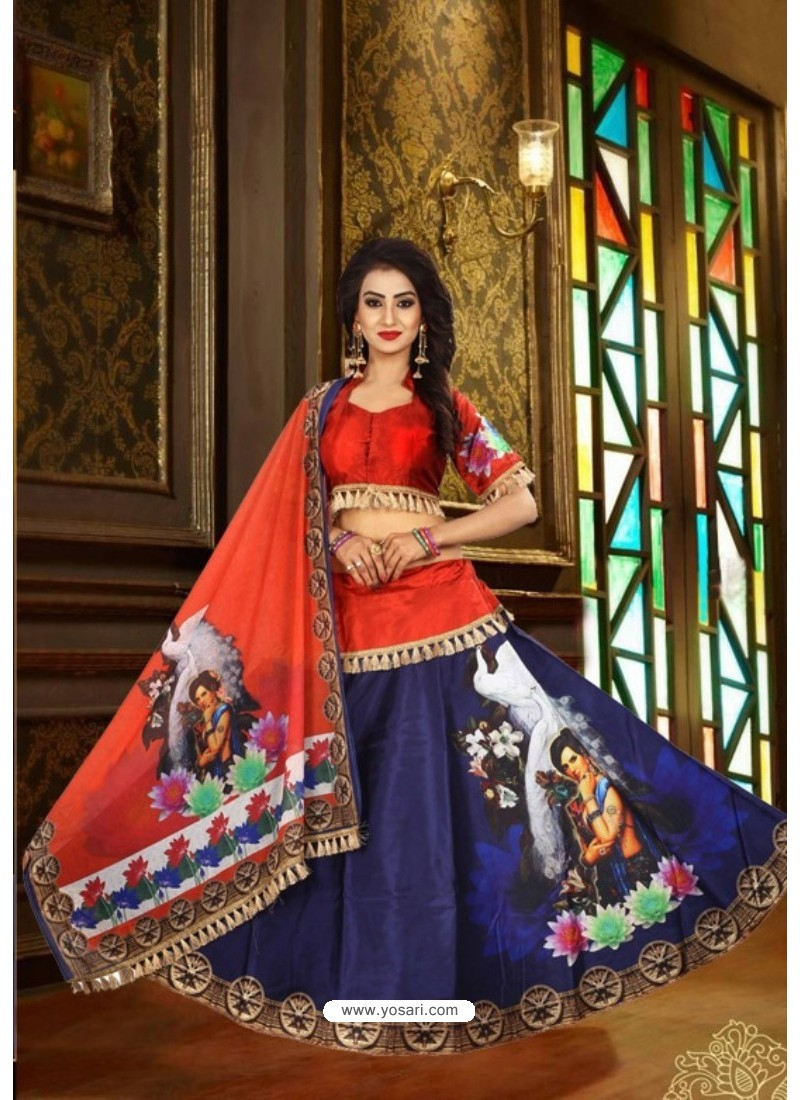 Blue Taffeta Digital Work Lehenga Choli