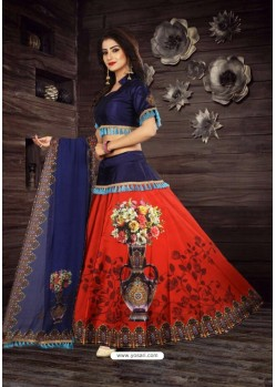 Red Taffeta Digital Work Lehenga Choli
