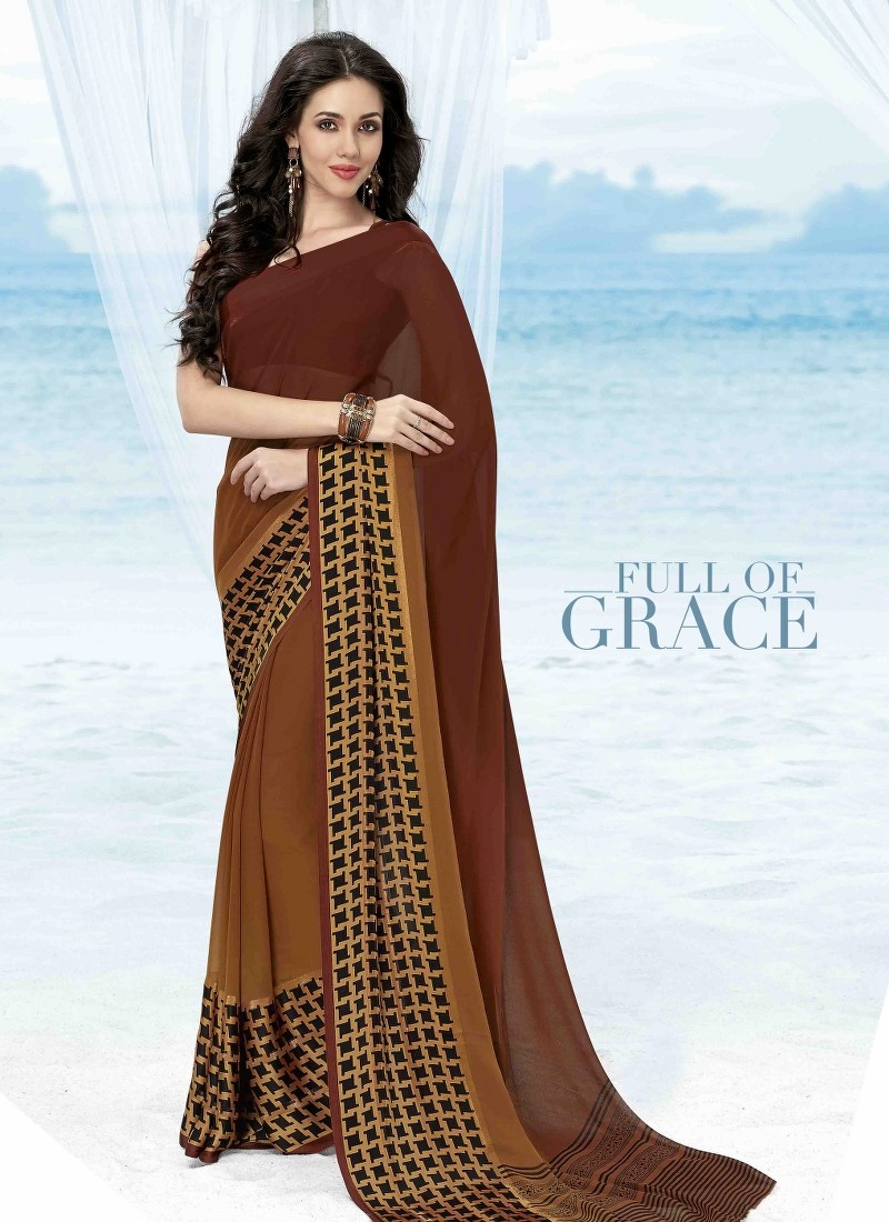Brown Print Work Saree