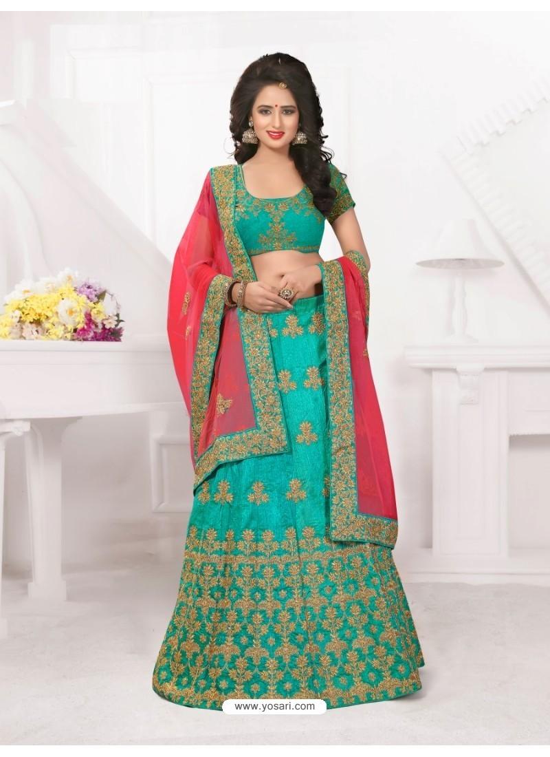 Sensational Turquoise Lehenga Choli