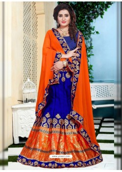 Desirable Royal Blue Jacquard Lehenga Choli