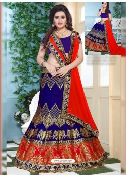 Royal Blue Jacquard Lehenga Choli