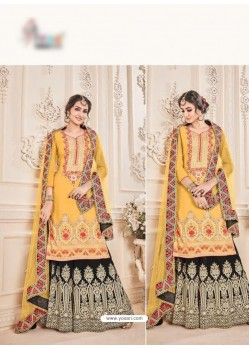 Yellow Faux Georgette Embroidered Suit