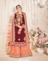 Maroon Faux Georgette Embroidered Suit