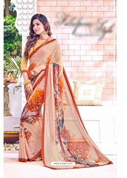 Beige Georgette Printed Saree