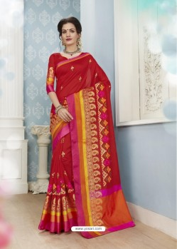 Exceptional Red Poly Cotton Saree