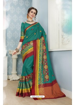 Deserving Teal Poly Cotton Saree