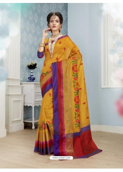 Delightful Mustard Poly Cotton Saree