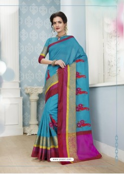 Fashionistic Turquoise Poly Cotton Saree