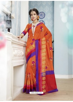 Beautiful Orange Poly Cotton Saree