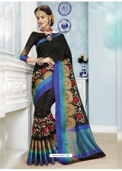 Beauteous Black Poly Cotton Saree