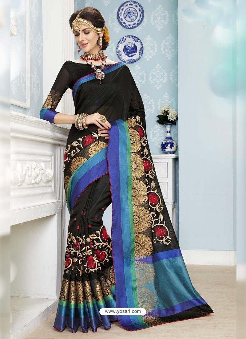 Beauteous Black Poly Cotton Saree