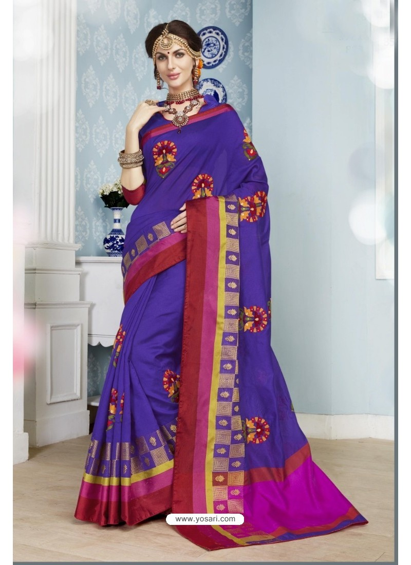 Violet Poly Cotton Saree