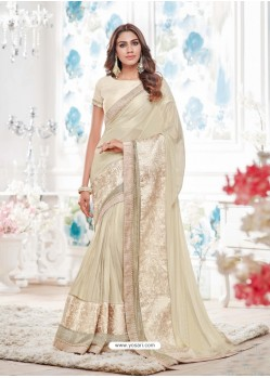 Phenomenal Taupe Lycra Saree