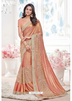 Fabulous Peach Lycra Saree