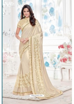 Fab Off White Lycra Saree