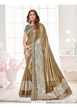 Charming Golden Lycra Saree
