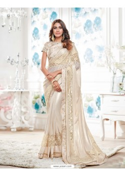 Fabulose Off White Lycra Saree