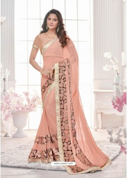Astonishing Baby Pink Lycra Saree