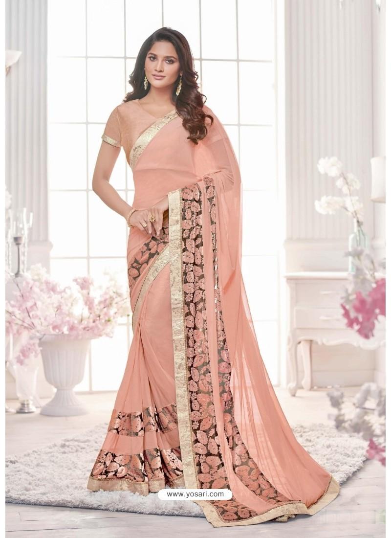 Astonishing Baby Pink Lycra Saree