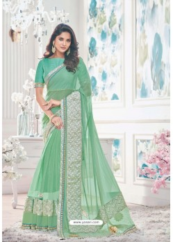 Admirable Jade Green Lycra Saree